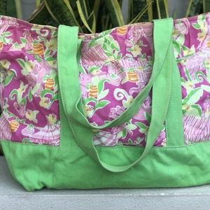 Vtg Lilly Pulitzer Jungle Floral Tote Bag Shopper